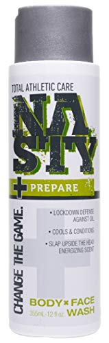 NASTY Prepare Body and Face Wash with Moisturizing Jojoba & Peppermint, 12 Ounce (Men Wash Face Active)