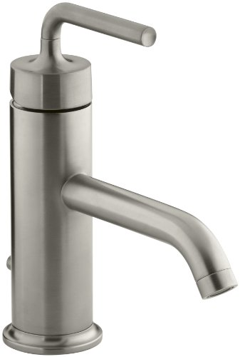 (KOHLER K-14402-4A-BN Purist Single Control Lavatory Faucet with Straight Lever Handle, Vibrant Brushed)