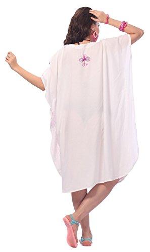 La Leela tamaño de rayón viscosa, más bordados mujeres short kaftan cubren la parte superior túnica blanca
