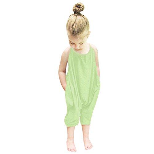 (Darkyazi Baby Summer Jumpsuits for Girls Kids Cute Backless Harem Strap Romper Jumpsuit Toddler Pants Size 2-8Y (2T, Green))
