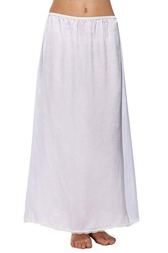 Satin Trim Skirt (Goodfans Women Satin Solid Lace Trim Full Slip Underskirt)