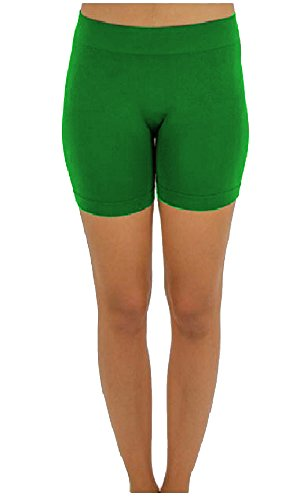Elegant4U Junior's Green No Pinching Seamless Performance Comfy Moisture Wicking Shapewear Mini Shorts