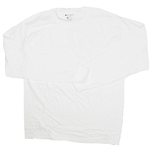 Champion Mens Long Sleeve Crew Tee Shirt XX-Large White