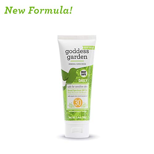 Goddess Garden Daily SPF 30 Mineral Sunscreen Lotion for Sensitive Skin (3.4 oz. Travel Size), Reef Safe, Sheer Zinc Oxide, Broad Spectrum, Water Resistant, Non-Nano, Vegan, Leaping Bunny Cruelty-Free