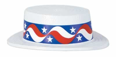 White Plastic Skimmer w/Star Band Party Accessory (1 count)