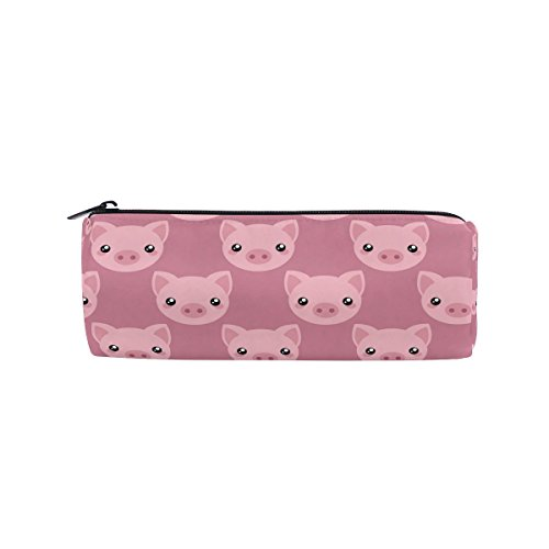 ALAZA Pink Cartoon Pig Face Animal Pencil Pen Case Pouch Bag with Zipper for Girls Kids School Student Stationery Office Supplies by ALAZA
