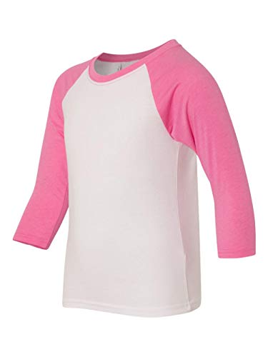 Next Level Big Boys' Rib-Knit Raglan Sleeve T-Shirt, M, Hot Pink/ White ()