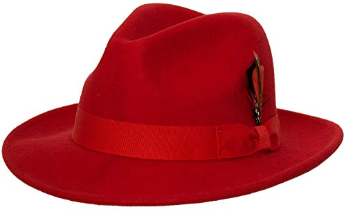 Classic Red Felt Hat - 9th Street Reverb Classic Felt Fedora 100% Wool (Large (fits 7 1/4 to 7 3/8), Red)