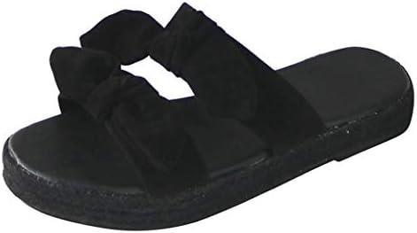 Nevera Fashion Casual Summer Slide Sandals for Women Open Toe Slip On Tie Knot Strap Sandals Beach Slippers Black