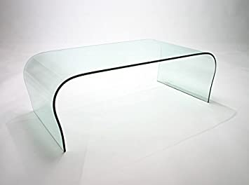 Clear Curved Glass Coffee Table W 100cm D50cm H42cm By Abode Interiors