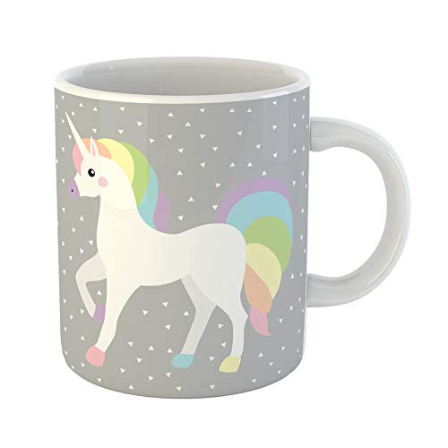 Emvency Coffee Tea Mug Gift 11 Ounces Funny Ceramic Unicorn Queen White Rainbow Color Triangle Grey Horse Hair Elegance Kid Gifts For Family Friends Coworkers Boss Mug