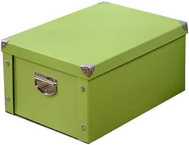 LHY SAVE Cajas De Cartón Caja De Almacenaje con Tapa Y Metal Asa,Fácil De Ensamblar, para Regalo, Almacenamiento En El Hogar, Oficina Y Mudanza,Verde,40x30x20cm: Amazon.es: Hogar