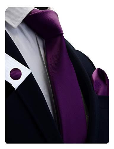 (GUSLESON Brand Men's Solid Dark Purple Tie Accessories Necktie and Pocket Square Cufflinks Sets (0789-04))
