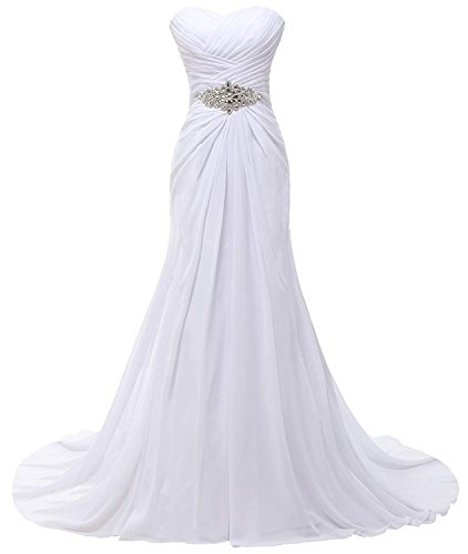 SOLOVEDRESS Women's a Line Long Chiffon Formal Prom Evening Dress Bridesmaid (US 18 Plus, White)