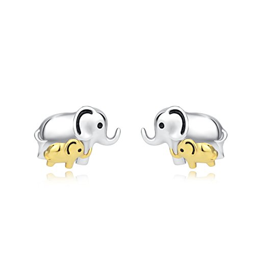 Elephant Jewelry 925 Sterling Silver Good Lucky Elephant Earrings Necklace Set for Women Girls (Elephant earrings)
