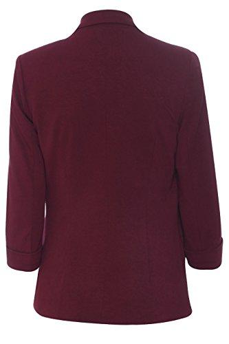 courtes Casual Bordeaux extensible UK 3 Collier femme pour jusqu'avant 4 Femmes Nouvelle 8C16 manches Manteau Mesdames Blazer Tour EqwTxYCv