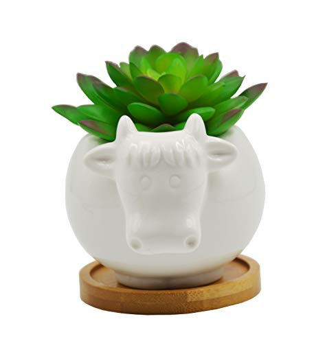 Cute Animal Cow Shaped Cartoon Ceramic Succulent Cactus Vase Flower Pot with Bamboo Tray (Plant Not Included)
