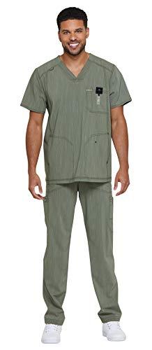 Dickies Advance Men's Scrub Set Bundle -DK695 Two Toned V-Neck 3 Pocket Top & DK180 Straight Leg Zip Fly Pant & Marc Stevens Badge Reel (Olive Twist - Large/Large)