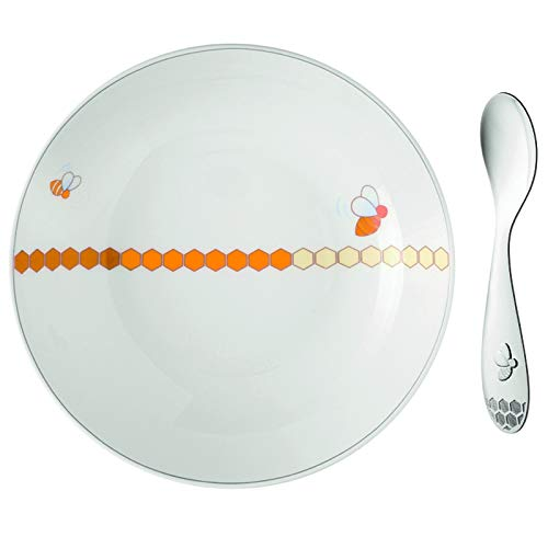 Christofle Beebee Baby Porcelain Cereal Bowl & Silver Plated Spoon Set -