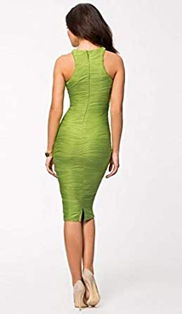 Stylish Ladies Women Fashion I-shaped Long Sheath Green Dress Wedding Evening Party Wear
