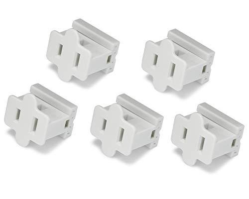 Holiday Lighting Outlet Female White Slip Plug, Zip Plug, Vampire Plug, Gilbert Plug, Slide Plug (5, SPT-1)