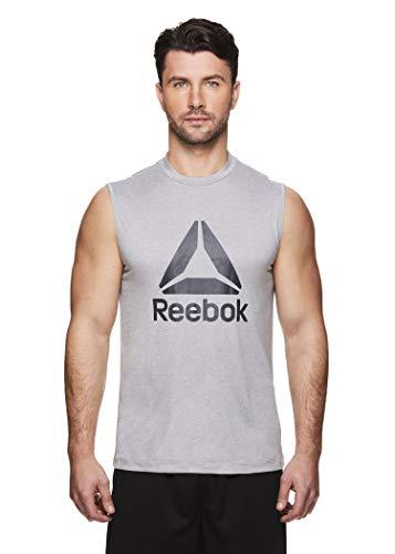 Reebok Men's Muscle Tank Top - Sleeveless Workout & Training Activewear Gym Shirt - Dominator Sleet Heather, Medium