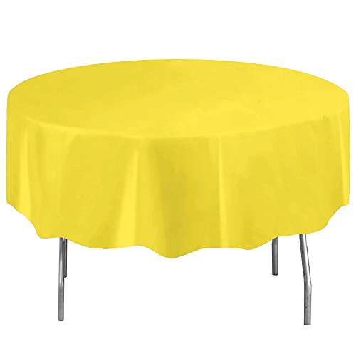 Round Neon Yellow Plastic Tablecloth, 84