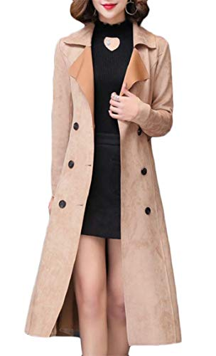 (Hajotrawa Women's Suede Leather Outer Belted Mid Length Double Breasted Fall Winter Lapel Trench Coat Khaki M)