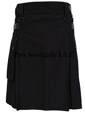 Deluxe Modern Utility Fashion Kilt Black With Leather Straps (38W x 24L) by Pro Scottish LLC