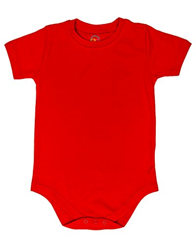 Rich Crewneck - CBObaby 2T 3T 4T 5T 6T 7 8 10 12 Large Size Toddler & Kids Boys & Girls Bodysuit Short Sleeve Round Crew Neck - Many Colors (7, Light Red)