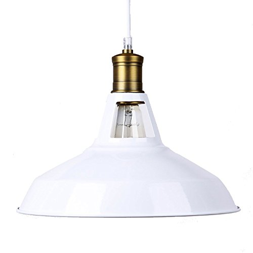 winsoon modern industrial loft bar metal pendant lamp shade hanging ceiling light white - Hanging Lamp Shades