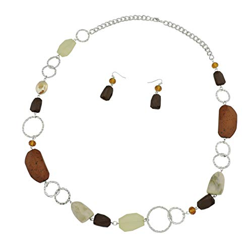 Bocar Fashion Long Chunky Crystal Beads Necklace and Earrings Set for Women Gift (NK-10076-brown)
