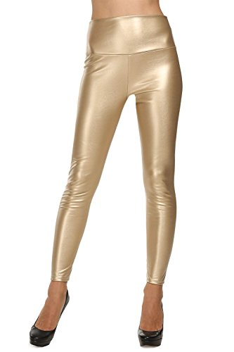 Avidlove Women Faux Leather High Waist Leggings Skinny Pencil Pants Thick Thick-Gold (FBA) XXL = US XL