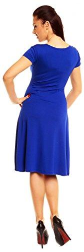 Zeta Ville - De Las Mujeres - Envolver V-cuello Llamarada Verano Vestido - Corto Mangas - 108z Azul Real