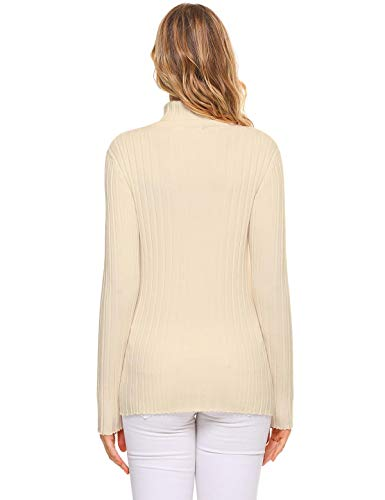 Aibrou Women s Long Sleeve Lightweight Soft Knit Turtleneck Sweater  Pullover Top e76c18e2f