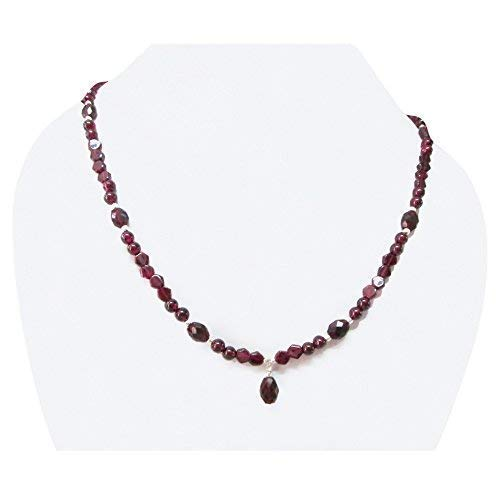 Garnet Beads Necklace Strand with Sterling Silver Findings 16