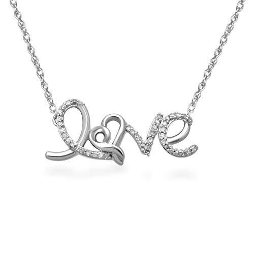 Jewelili Sterling Silver 1/6cttw Natural White Diamond LOVE Pendant Necklace, 18