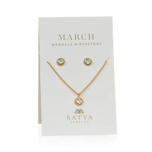 Aquamarine Set Jewelry Set - Satya Jewelry Birthstone Set Women's Aquamarine Gold March Necklace & Earrings Set, One Size
