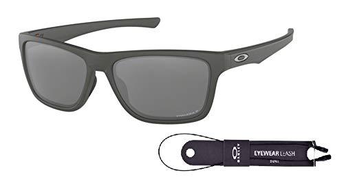 Oakley Holston OO9334 933411 58M Matte Dark Grey/Prizm Black Polarized Sunglasses For Men+BUNDLE with Oakley Accessory Leash Kit (Oakley Sonnenbrille Matte Black)