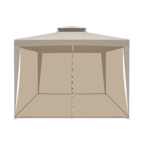 ALEKO GZB001 Double Roof 10 X 10 Foot Patio Gazebo with Mesh Netting Picnic Sun Shade, Sand