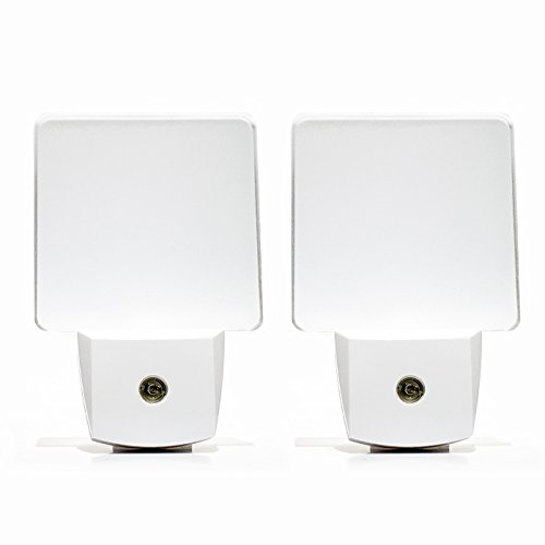 Ultra Bright LED Night Light 2 Pack | Includes Dusk to Dawn Sensor to Reduce Energy (White) | LED Wall Lamp for a Baby's Room Nursery