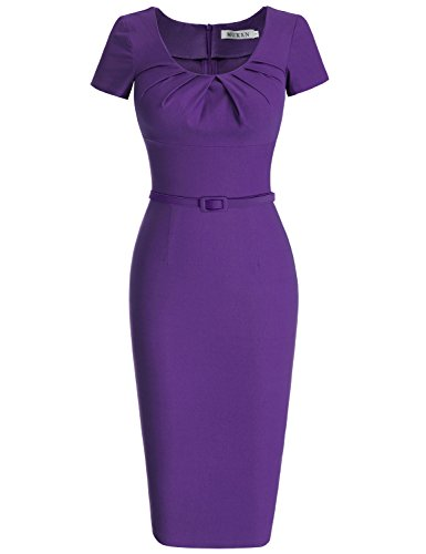 MUXXN 1950s Retro Cuello Redondo Corta Mangas Vestido Lápiz Violet