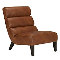 Farmhouse Accent Chairs CHITA Modern Leather Accent Chair, Cognac farmhouse accent chairs