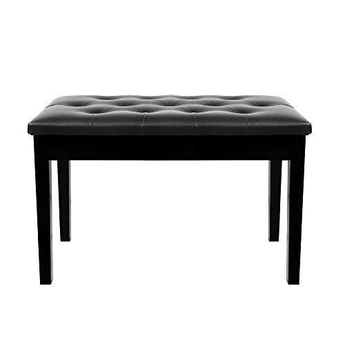 TOYEEKA Black 29'' Solid Wood PU Leather Double Duet Piano Stool Keyboard Bench with Storage, Load 440lb -