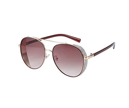 HongTeng Polarisierte Sonnenbrille Weiblicher Strass Großer Rahmen Rundes Gesicht Anti-UV Multicolor Optional (Color : Gold Frame red Film) (Sonnenbrille Für Große Gesichter)