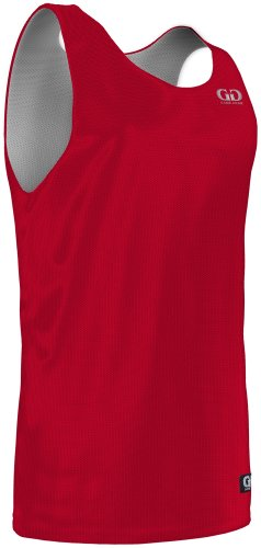 MP993 Men's Tank Top Polyester Micromesh Jersey-Uniform is Reversible to White (Large, Red/White)