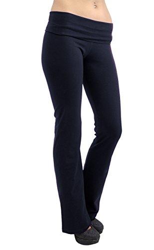 Vivian's Fashions Yoga Pants - Extra Long, Junior Size (Navy, 2X)