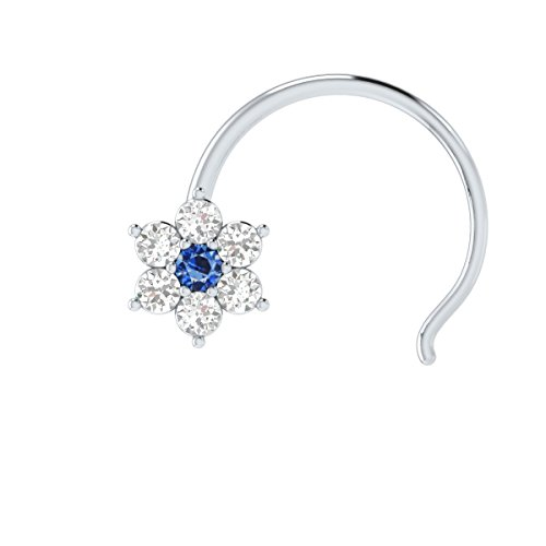 Animas Jewels DGLA Certified 14k White Gold Flower Nose Pin Ring for Women 0.08 Cttw Natural Diamond (G-H Color. SI Clarity) and Blue Sapphire Round Cut Single Prong Setting