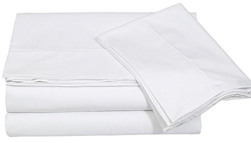 18' White 50 Sheets - The King Bedding True Luxury 100% Egyptian Cotton - 800 Thread Count 4 Piece Sheet Set- Fits Mattress Upto 18'' Deep Pocket Queen White