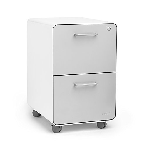 Poppin White + Light Gray Stow Rolling 2-Drawer File Cabinet, Metal, Legal/Letter